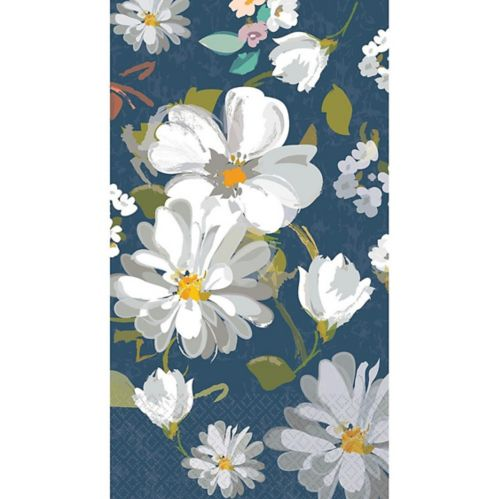 Navy Daisies Guest Towels, 16-pk