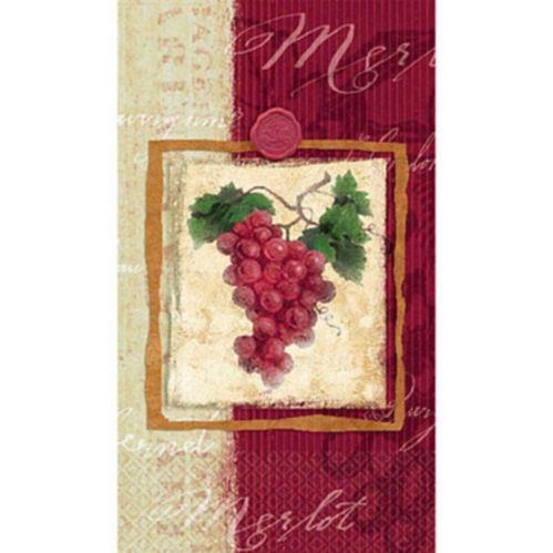 Essuie-mains d'invité avec motif de raisin de vigne, paq. 16