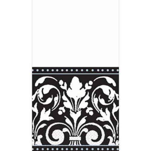 Serviettes pour invités classiques, noir et blanc, paq. 16
