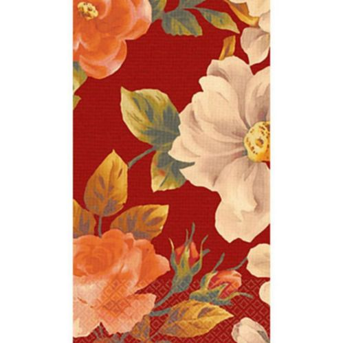 Classic Floral Red Guest Towels, 16-pk