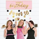 Glitter Gold and Pink Sweet 16 Photo Booth Kit, 14-pc