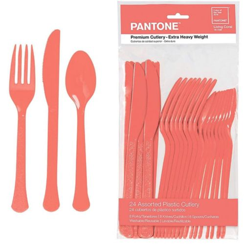 Bright Coral Premium Plastic Cutlery Set, 24-pc