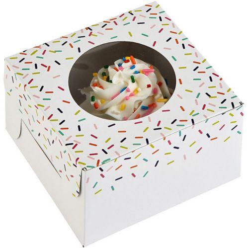 Boîtes à friandises avec fenêtre et paillettes colorées, paq. 3