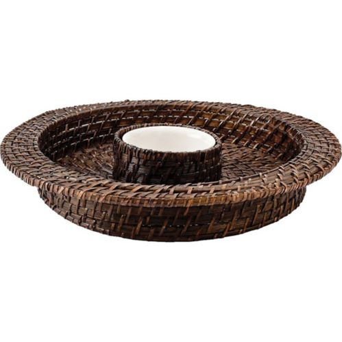 Brown Bamboo Chip Dip Tray