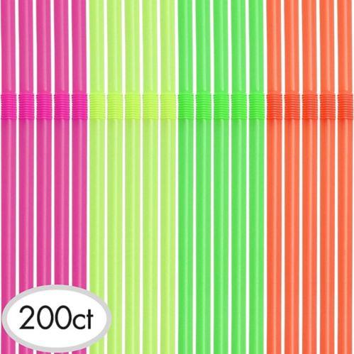 Neon Flexible Straws, 200-pk