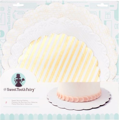 Sweet Tooth Fairy Gold & White Cake Boards, 3-pk Product image