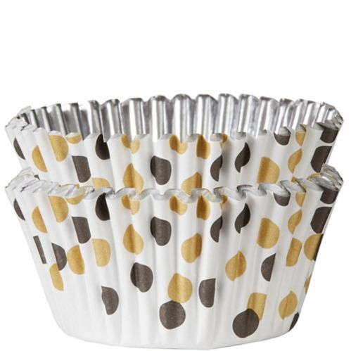 Polka Dot Foil Baking Cups, Black/Gold, 48-pk
