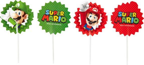 Wilton Super Mario Bros Fun Picks Cupcake Toppers, 24-pk