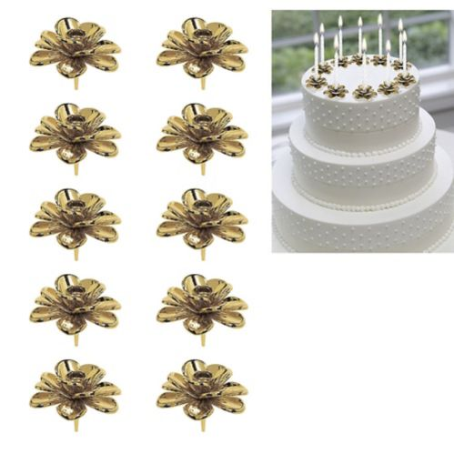 Gold Flower Candle Holder Cake Toppers, 10-pk