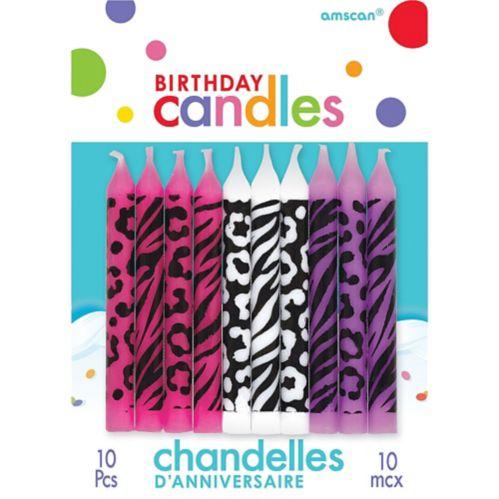 Animal Print Birthday Candles, 10-pk