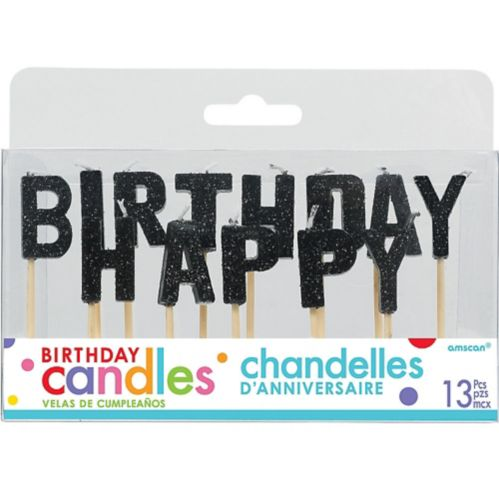 Bougies sur pique Happy Birthday, noir scintillant, paq. 13
