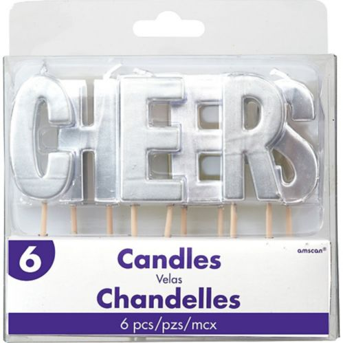 Cheers Toothpick Candle Set, Silver, 6-pc