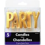 Party Toothpick Candle Set, Gold, 5-pc | Amscannull