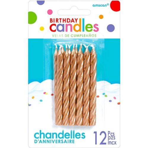 Rose Gold Birthday Candles, 12-pk