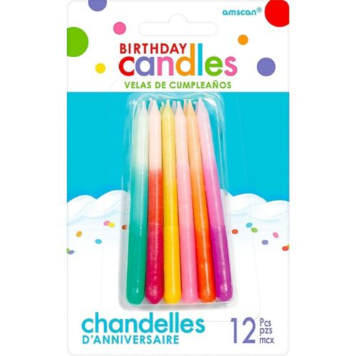 Multicolour Ombre Birthday Candles, 12-pk