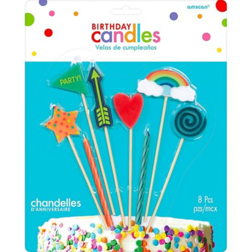 Colourful Icons Birthday Candles, 8-pc