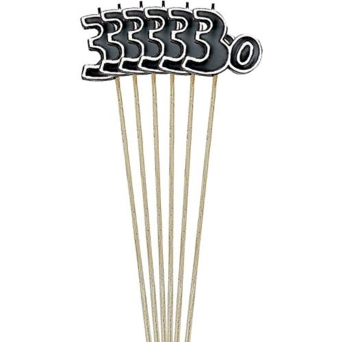Black Number 30 Birthday Toothpick Candles, 6-pk