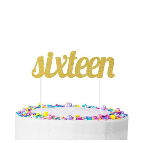 Gold Glitter 16th Birthday Cake Topper