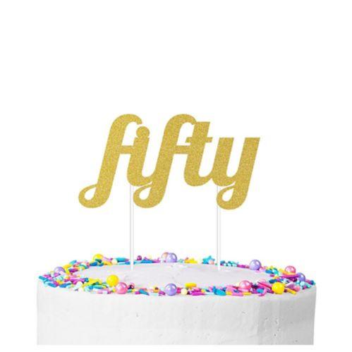 Gold Glitter 50th Birthday Cake Topper