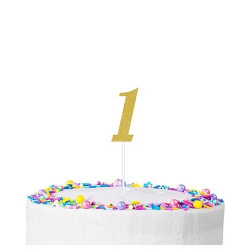 Décoration de gâteau scintillante, chiffre1, or Image de l'article