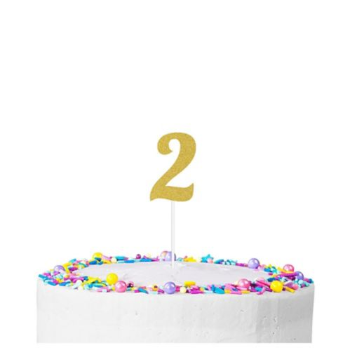 Gold Glitter Number 2 Cake Topper