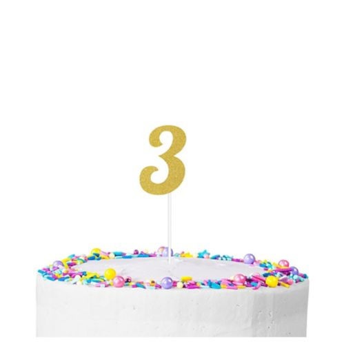 Gold Glitter Number 3 Cake Topper