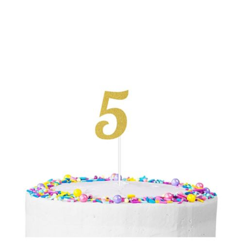 Gold Glitter Number 5 Cake Topper