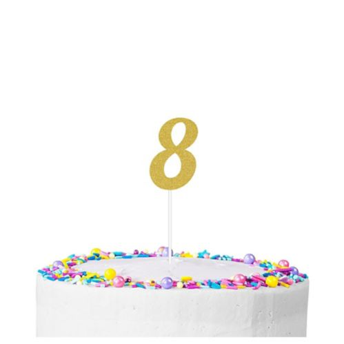 Gold Glitter Number 8 Cake Topper Product image
