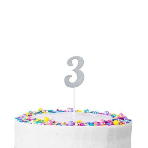 Silver Glitter Number 3 Cake Topper