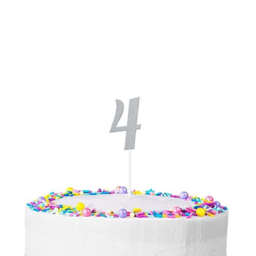 Silver Glitter Number 4 Cake Topper