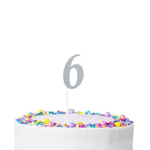Décoration de gâteau scintillante, chiffre6, argent