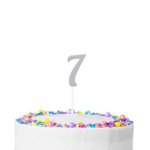 Silver Glitter Number 7 Cake Topper