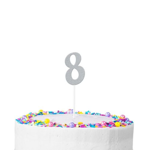 Silver Glitter Number 8 Cake Topper