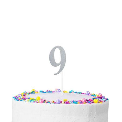 Décoration de gâteau scintillante, chiffre9, argent