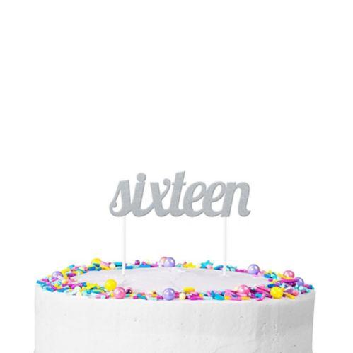 Décoration de gâteau scintillante, Sixteen, argent