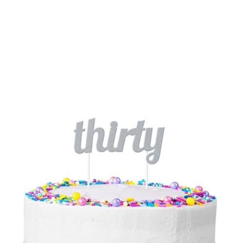 Silver Glitter Thirty Cake Topper