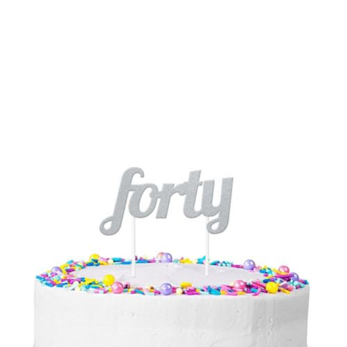 Silver Glitter Forty Cake Topper