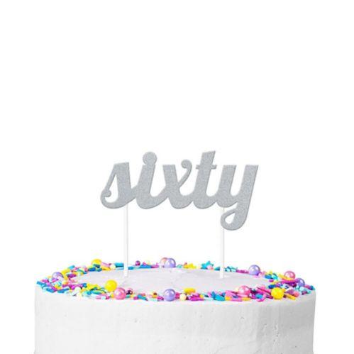 Silver Glitter Sixty Cake Topper