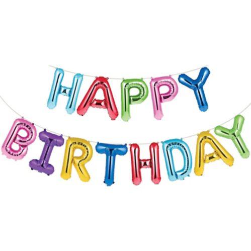 Multicoloured Happy Birthday Balloon Banner, 13-pc