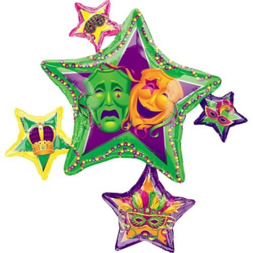 Stars Mardi Gras Balloon, 35-in Product image