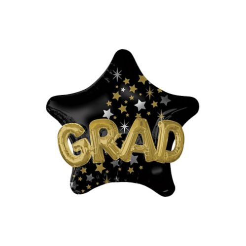 3D Black, Gold, & Silver Star Graduation Balloon, 36-in