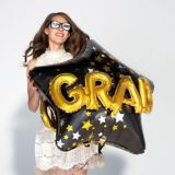 3D Black, Gold, & Silver Star Graduation Balloon, 36-in | Amscannull