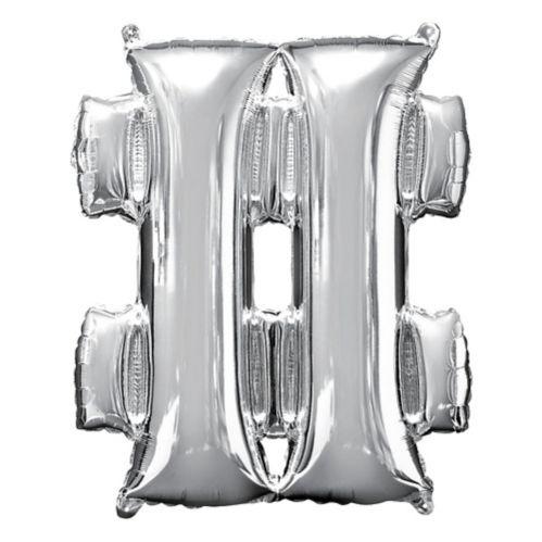Giant Silver Hashtag Balloon, 27-in