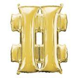 Giant Gold Hashtag Balloon, 27-in | Amscannull