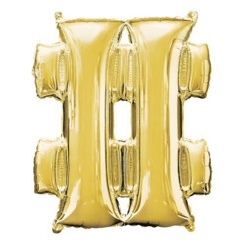 Giant Gold Hashtag Balloon, 27-in