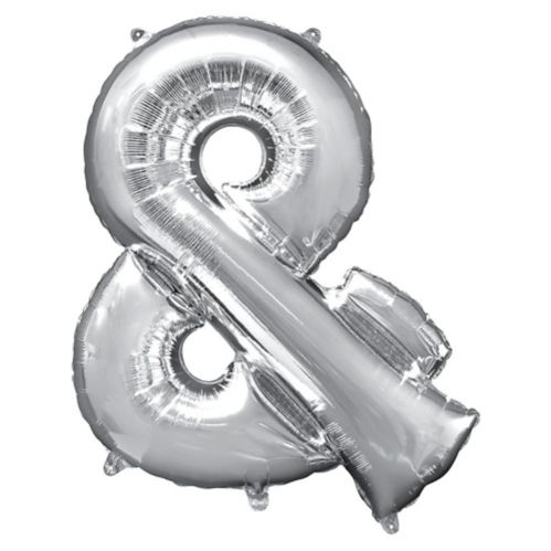 Giant Silver Ampersand Balloon, 30-in