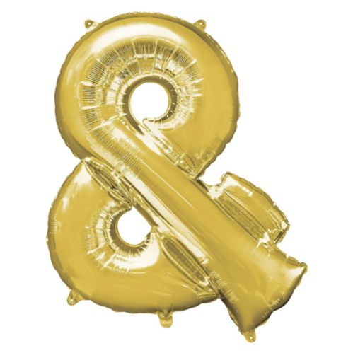 Giant Gold Ampersand Balloon, 30-in