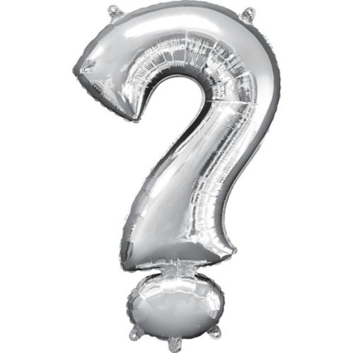 Giant Silver Question Mark Balloon, 22-in
