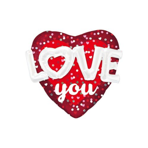 Giant 3D Love You Valentine's Day Heart Balloon, 36-in