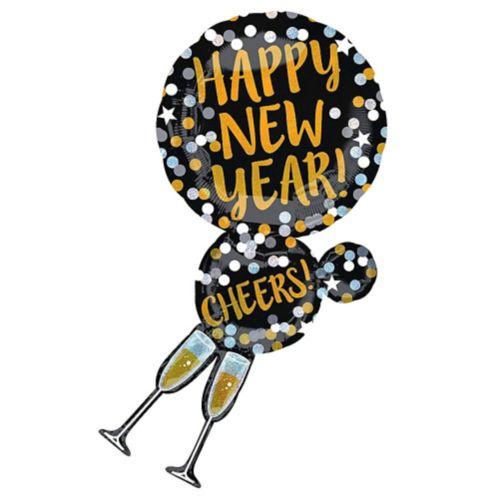 Ballon géant à pois noirs, dorés et argentés du Nouvel An, 46 po